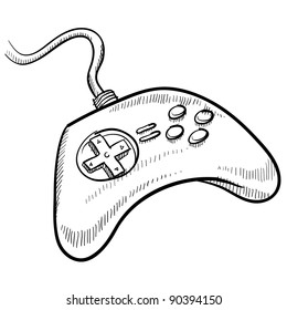 Doodle style video game controller vector illustration