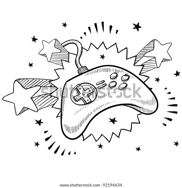 Doodle style video game controller illustration in vector format with retro 1970s pop background