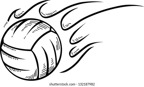 Doodle style volleyball sports vector illustration