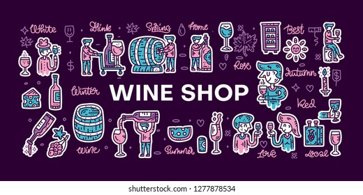 Doodle style wine sticker pack. Hand drawn elements for banners and website concepts. Vector illustration. Winemaker character