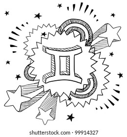 Doodle style zodiac astrology symbol on 1960s or 1970s pop explosion background - Gemini