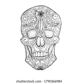 Doodle stylized black and white sugar skull, hand drawn ink monochrome, stock vector illustration