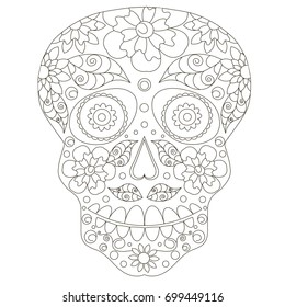Doodle stylized black and white sugar skull, hand drawing, stock vector illustration