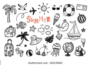 doodle summer vector set. Hand drawn icons collection. Holiday, beach vacation theme.