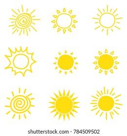 Doodle sun. Set of sun vector