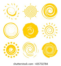 Doodle suns isolated on white background collection. Abstract hand drawing sun icons set for your design. Grunge vortex shapes, different brush texture of sun. Vector sun illustration.
