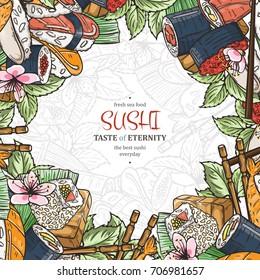 Doodle sushi restaurant menu design template. Engrave asian food frame. Vector illustration