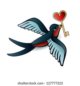 Doodle swallows with heart in tattoo style.