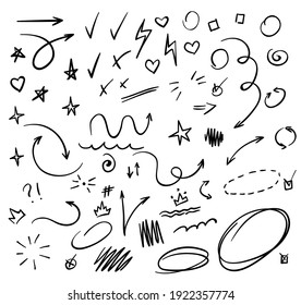 Doodle Swash Black Thin Line Set Include of Heart, Stroke, Circle and Arrow Sign. Vector illustration