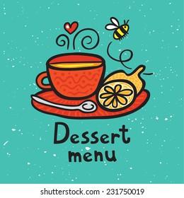 Doodle tea with lemon dessert menu.