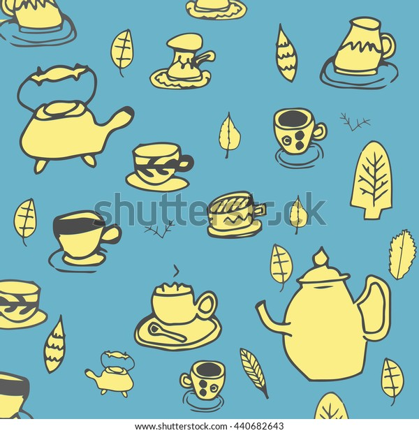 Doodle tea time elements collection. Hand drawn vector set of tea icons. Teapots, cups