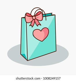 Doodle teal gift bag with pink bow and heart. Vector illustration