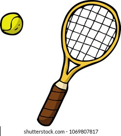 Doodle tennis racket and ball on a white background vector illustration