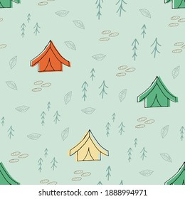 Doodle tent seamless pattern. hand drawn background. Vector illustration