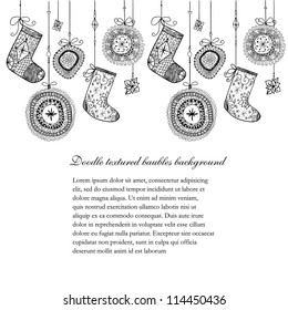 Doodle textured Christmas baubles and socks seamless line.