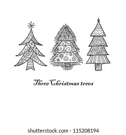 Doodle textured Christmas trees-baubles background.