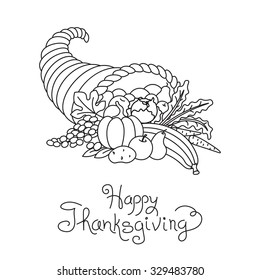 Doodle Thanksgiving Cornucopia Freehand Vector Drawing Isolated.