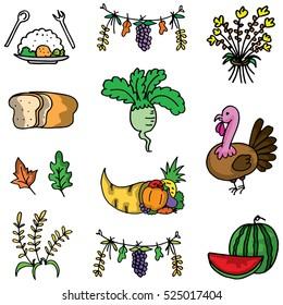 Doodle of thanksgiving various element vector art