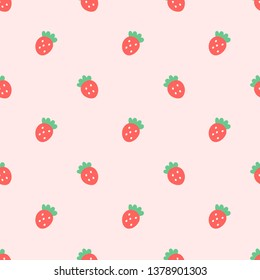 Doodle tiny red seamless lovely pattern on pink pastel background. Fun with cute polkadot strawberry. You can use it to wrap gift box for kids, your little kitty will enjoy with adorable thing.