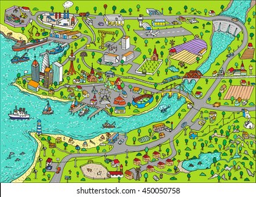 Doodle town. Map drawn by hand. Vector. Isolated.