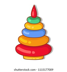Doodle toy colorful cute pyramid vector illustration