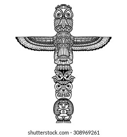 Doodle traditional indian religious totem isolated on white background vector illustration