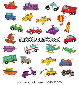 Doodle Transportation Design Vector.