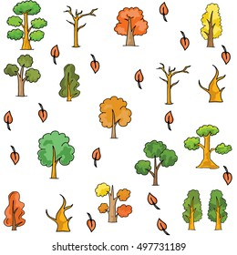 Doodle of tree different collection vector art