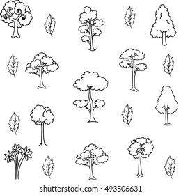 Doodle of tree set with hand draw vector