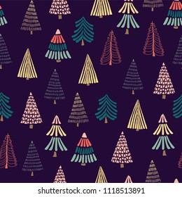 Doodle trees on a dark blue background. Seamless vector pattern. Great for christmas - Perfect for holiday cards, wrapping paper, and fabric.