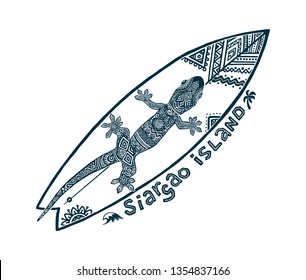 Doodle tribal tattoo style vector surfboard with ornate gecko on it and sign Siargao island. Symbol of Philippines surfing.