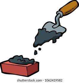 Doodle trowel and brick on a white background vector illustration