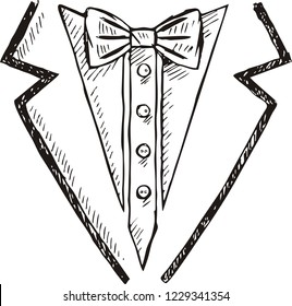Doodle of tuxedo with bow tie, vector illustration