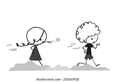 Doodle two kids play throw snowballs