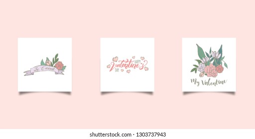 Doodle valentine cards. Happy valentine's day greeting card. Vector illustration