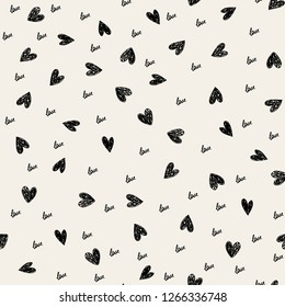 Doodle Valentines Day background  pattern with cute hearts and word love. Vector illustration.