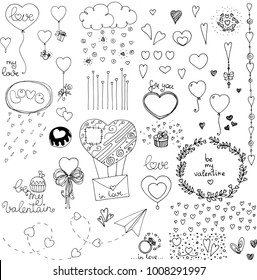 doodle valentines day elements and hearts