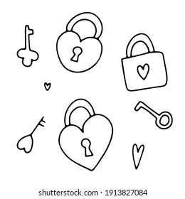 Doodle Valentine's Day hearts padlock set. Hand drawn outline love symbol on white background. Cute greeting hearts lock, key image. February 14, wedding, marry me sign. Vector Valentines illustration