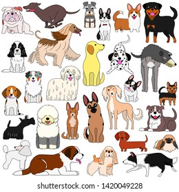 doodle of various cute dogs