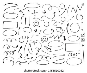Doodle vector arrows and design elements. Hand drawn set of icons, frames, borders, arrows in cartoon style. Elements for infographics.