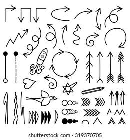 Doodle vector arrows set.