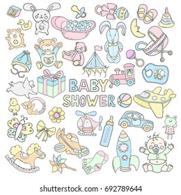 Doodle vector babyshower set with hand drawn toys. Perfect for printable design items like fabric, wallpaper, greeting cards, stickers. Cartoon style lovely drawings.