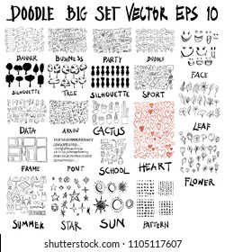Doodle Vector Big collection of      banner, business, party, bubble, silhouette, tree, sport, data, arrow, cactus, frame, font, school, face, heart, summer, star, sun, pattern, flower