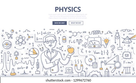 Doodle vector concept of physicist with apple in hand explaining fundamental laws of physics. Hand drawn illustration of physics science for web banners, hero images, printed materials