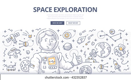 Doodle vector concept of space mission and exploration for web banners, hero images, printed materials