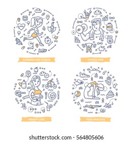 Doodle vector concepts of fitness, weight loss and yoga practice. Concepts of a healthy lifestyle