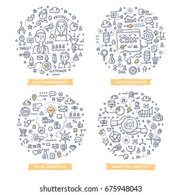 Doodle vector concepts of leads management, CRM integration, marketing analytics and social marketing. Marketing automation concepts