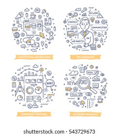 Doodle vector concepts of pay per click contextual advertising, keyword researching and tracking campaign results