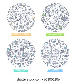 Doodle vector concepts of renewable energy, wildlife protection, saving water and green eco city. Ecology hand drawn illustrations