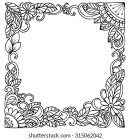 Doodle vector floral square frame in black and white for informative card or party invitation